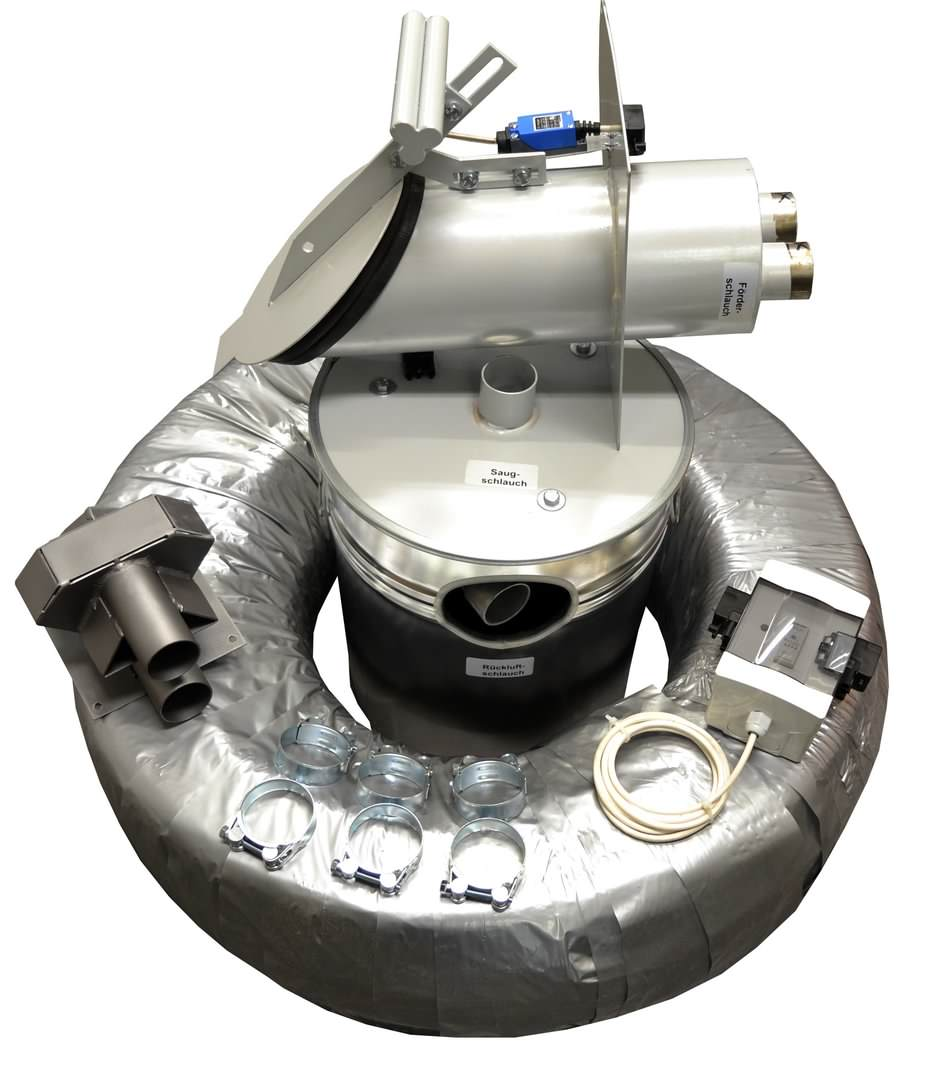 Saugsystem mit externer Saugturbine, Saugsonde, Minilader und Regelung.