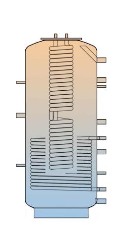 Dieser Kessel ist mit zwei Wärmetauschern ausgestattet. Der untere für die Solaranlage, der obere fürs Brauchwasser.
