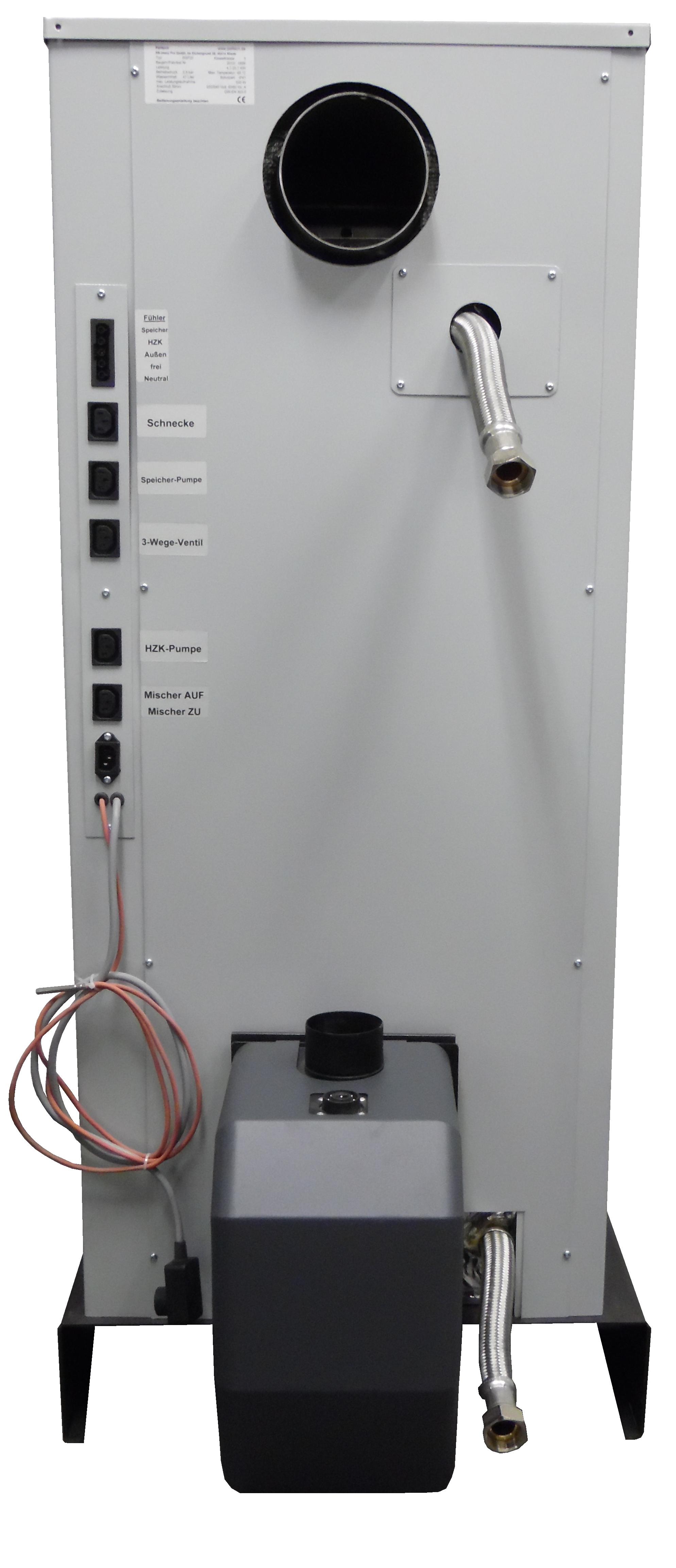 Rüchansicht des RSP 20. Vor- und Rücklauf sind durch eine Flexleitung nach Außen geführt. Die elektrischen Anschlüsse sind alle vorbereitet. Die passenden Stecker sind enthalten.